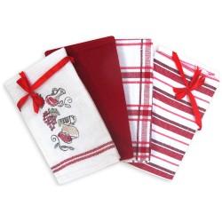 Набор полотенец кухонных Квадро 4 предмета красный 409