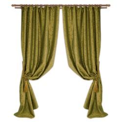 Портьера Тафта с рисунком из флока, зеленый 140*260 /2шт/