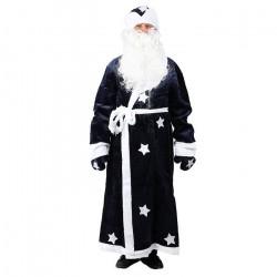 Костюм новогодний ДЕД МОРОЗ шуба,шапка, борода, рукавицы, кушак 180см полиэстер 32098