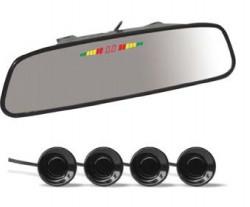 Парктроник PS-164U (4 датчика+коннекторы, Зеркало + LED Дисплей цветной)