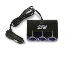Разветвитель прикуривателя AVS 12/24 (на 3 выхода+USB) CS317U
