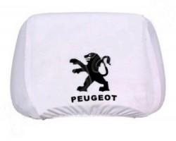 Чехлы на подголовник белые PEUGEOT (2шт)