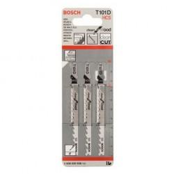 Набор пилок для лобзика 3шт по дереву T101D 100мм Bosch 2608630558