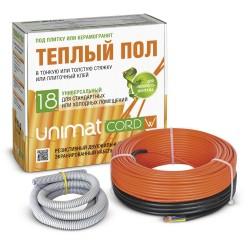 Теплый пол UNIMAT CORD кабельный 130-200Вт/м2 мощность 18 Вт/м.пг. (20м)