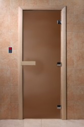 Дверь для сауны DoorWood ТЕПЛАЯ НОЧЬ ,700*1900мм, стекло бронза  матовое, ручка, петли, коробка хвоя
