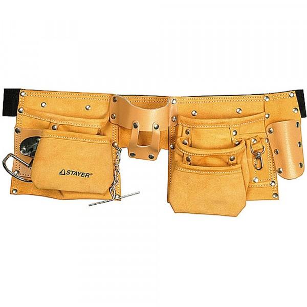 сумка - пояс для инструментов, кожаная, 10 карманов, 3 подвески stayer master 38512 недорого