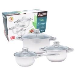Набор посуды 6 предметов VITA сталь,стекло (3л,1,5л,0.75л)