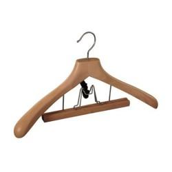 Вешалка для костюма деревянная с зажимом с утолщенными плечиками, 44 см