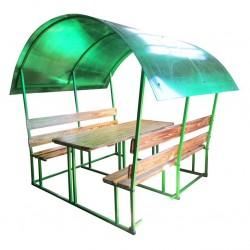 Беседка садовая стол/2 скамьи/крыша поликарбонат 1,8*1,9*2,1м