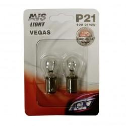 Лампа автомобильная AVS Vegas 12V. P21/4W 2шт (BAZ15d) A78473S