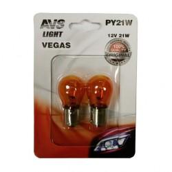 Лампа автомобильная AVS Vegas 12V. PY21W оранжевая 2шт (BA15S) A78476S