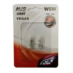 Лампа автомобильная AVS Vegas 12V. W5W (W2,1x9,5d) 2шт A78478S