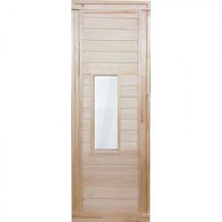 Дверь глухая со стеклом 1,7х0,7 м., липа Класс Б, коробка из липы