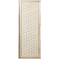 Дверь глухая, диагональная 1,9х0,7 м.,липа Класс А, коробка из сосны, с ручками и петлями в гофрокоробе