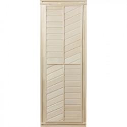 Дверь глухая, горизонтально-диагональная 1,9х0,7 м.,липа Класс А, коробка из сосны, с ручками и петл