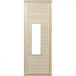 Дверь со стеклом (бронзовое)1,9х0,7 м.,липа Класс А, коробка из сосны, с ручками и петлями в гофрокоробе