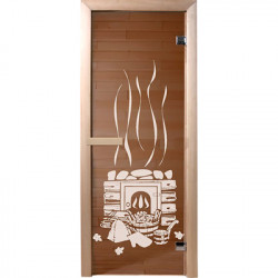 Дверь из стекла Банька1,9х0,7 м бронза 6мм, коробка хвоя,2 петли,в гофрокоробе