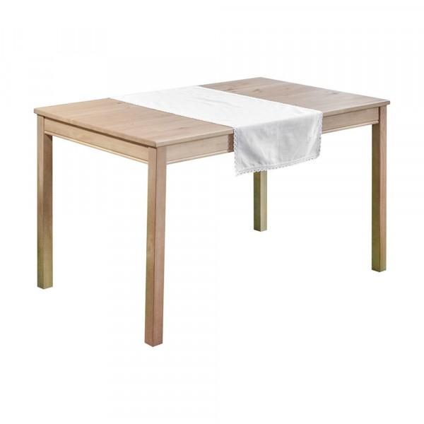дорожка на стол 40*100 с кружевом, лен 140гр/м2 белый