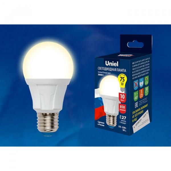 лампа светодиодная uniel led-a60 10w/ww/e27/fr plp01wh