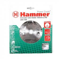 Диск пильный по дереву 185*40зуб*20/16мм CSB WD Hammer Flex 205-109