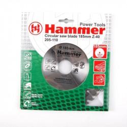 Диск пильный по дереву 185*40зуб*30/20мм CSB WD Hammer Flex 205-110