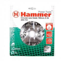 Диск пильный по дереву 190*36зуб*30/20/16мм CSB WD Hammer Flex 205-112