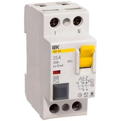 Выключатель автомат. диф. 25A/30mA 2П АС ВД-1-63 ИЭК