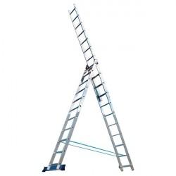 Лестница 3 секции по 11 ступеней, макс. высота 7,02м, 150кг Алюмет 5311