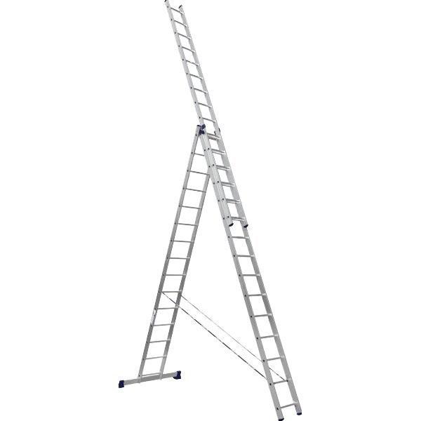 лестница 3 секции по 15 ступеней, макс. высота 10,95м, 150кг алюмет 6315