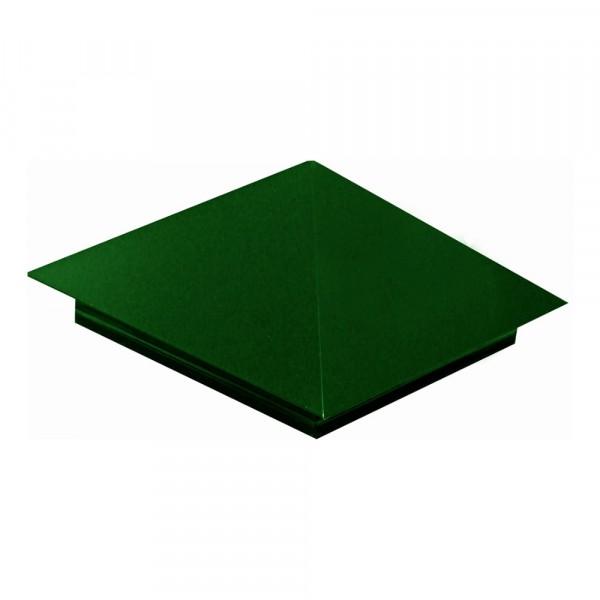 колпак на забор, цвет зеленый мох ral 6005, 400 х 400 мм отлив pe ral 6005 зеленый мох 60х2000 мм