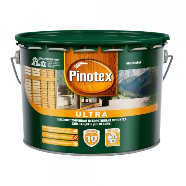 влагостойкая лазурь для дерева pinotex ultra калужница 9л