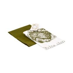 Комплект полотенец 35х55 (2шт) (Диагональ 98 отбеленный+Диагональ оливковый+печать Капуста)