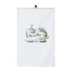 Полотенце 35х55 с печатью (диагональ 98 отбеленный/оливковый/печать Овощи)