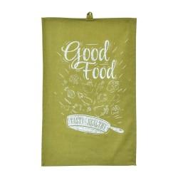 Полотенце 35х55 с печатью (диагональ С89 оливковый/печать Good Food)