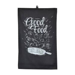Полотенце 35х55 с печатью (диагональ С89 черный/печать Good Food)