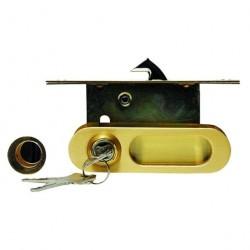 Ручка для раздвижных дверей A-K01/02V1II матовое золото, ключ/завертка