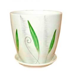 Горшок керамический БУТОН мотив зеленый 18см