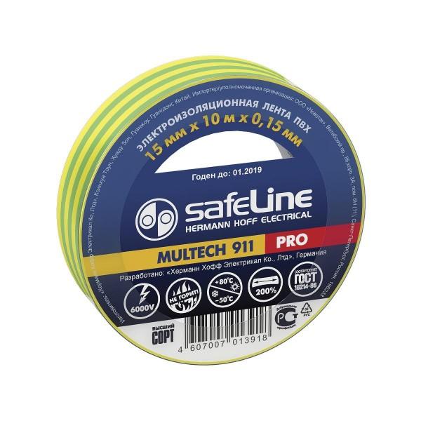 изолента пвх 15мм*10м*0,15мм желто-зеленая, safeline pro изолента пвх 19мм 20м 0 15мм желтая safeline pro