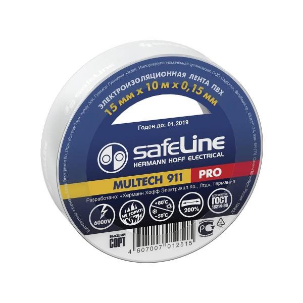изолента пвх 15мм*10м*0,15мм белая, safeline pro