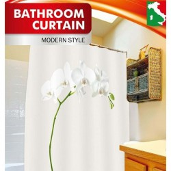 Шторка д/ванной Белая орхидея + набор колец PH54