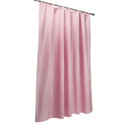 Шторка д/ванной ЖАККАРД розовая + набор колец 001-В